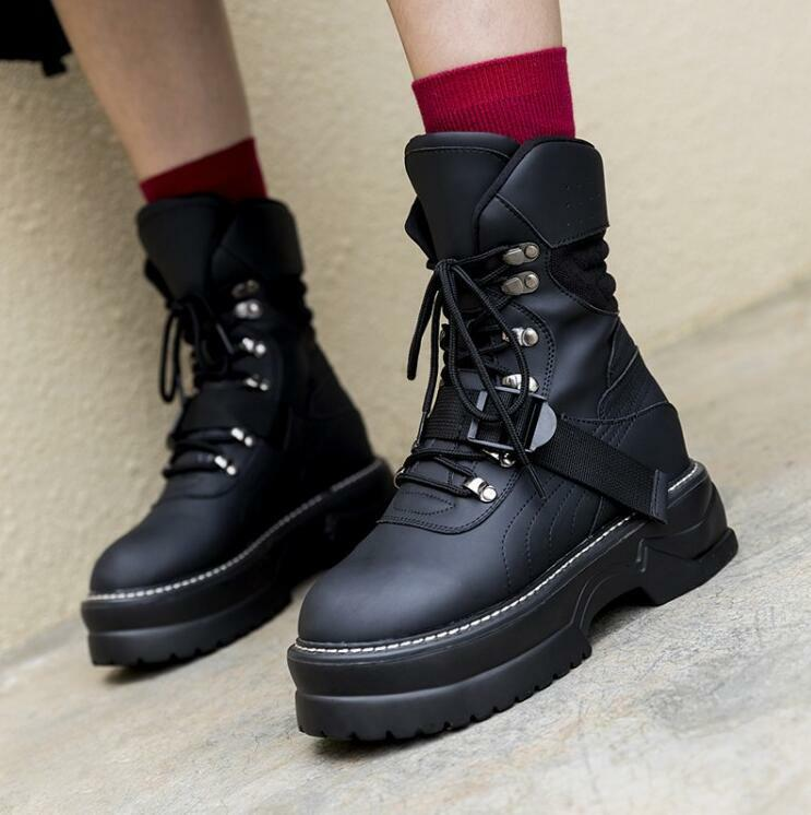 Womens Goth Ankle Ankle Ankle Boots Winter Warm Ridding Shoes Platform Military Lace Up U665 0186b6