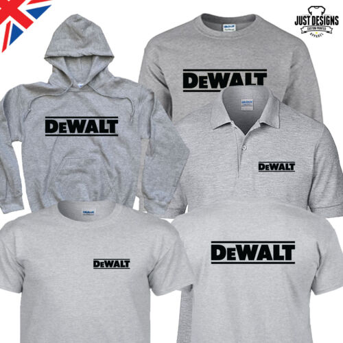 Tools Grey T-shirt Hoodie Hoody Polo Shirt Jumper Vest S-5XL Work Wear Dewalt