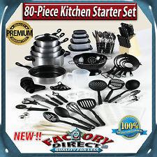 80 Piece Kitchen Starter Set Cookware Cutlery Knife Block Many Accessories!