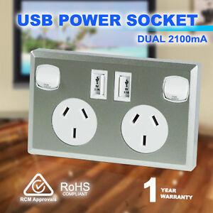 10A-Double-Australian-USB-Power-Point-Supply-2-Socket-Switch-Wall-Plug-Silver