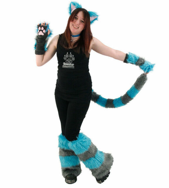 Furry Ears Tail Paws Leg Gray Teal Blue ALT PAWSTAR Cheshire Cat Costume 4012