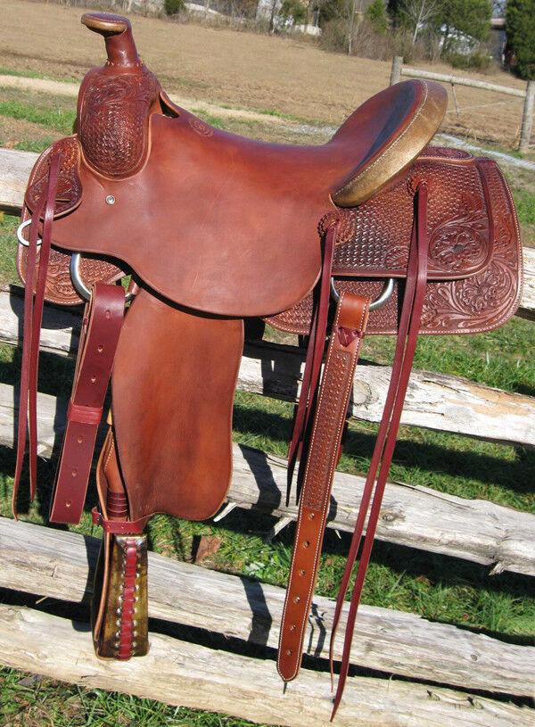 Western rancho mano Mahagony Cuero Roper fileteado y tallada 18  silla de montar