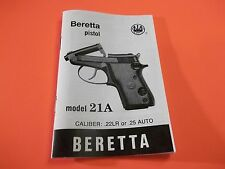 BERETTA Model 21A PISTOL 23 PAGE OWNER'S MANUAL in .22LR or.25 CALIBER