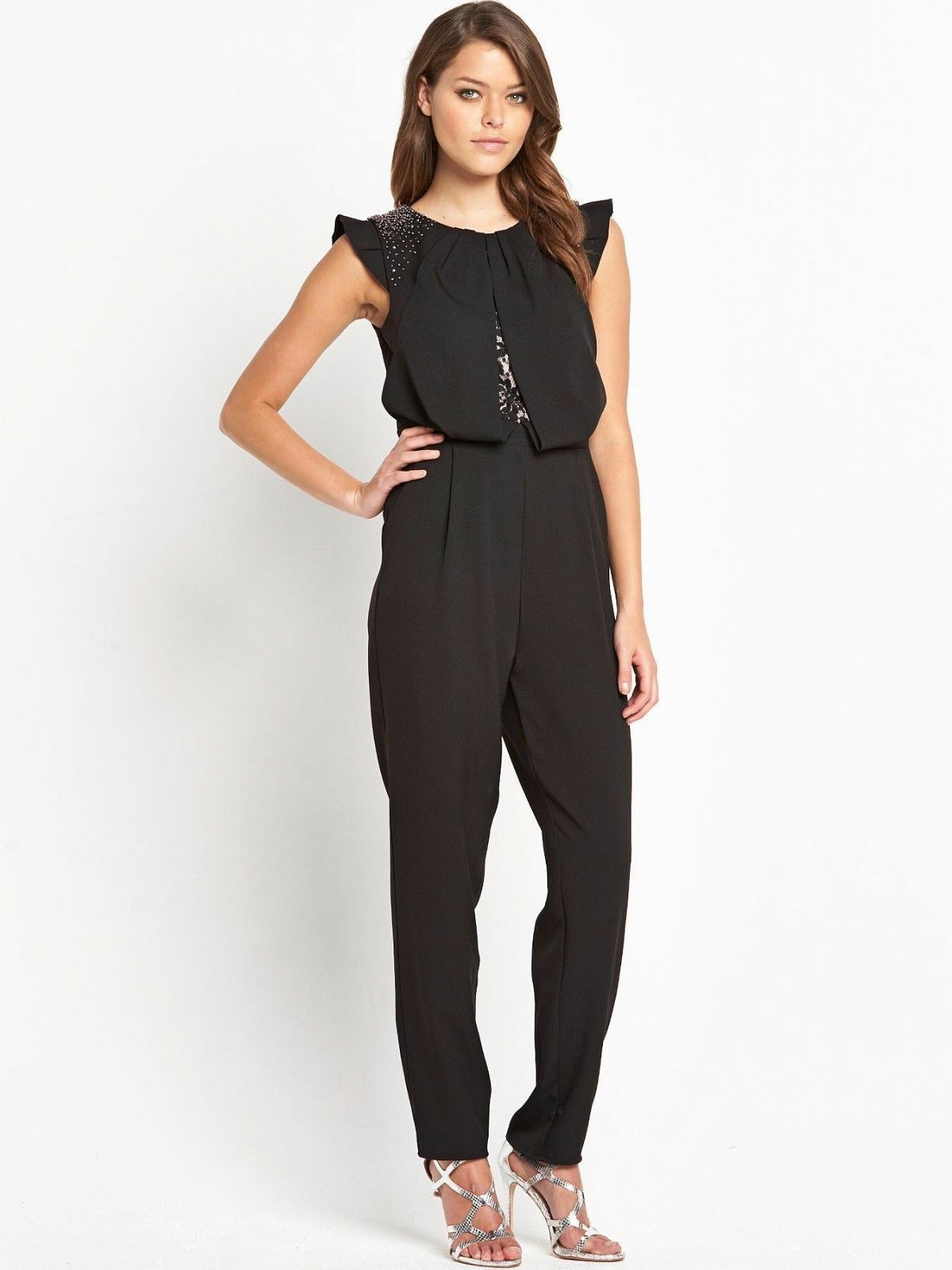 BNWT Little Mistress Frill Sleeve Evening Occasion Jumpsuit Size 10 NEW