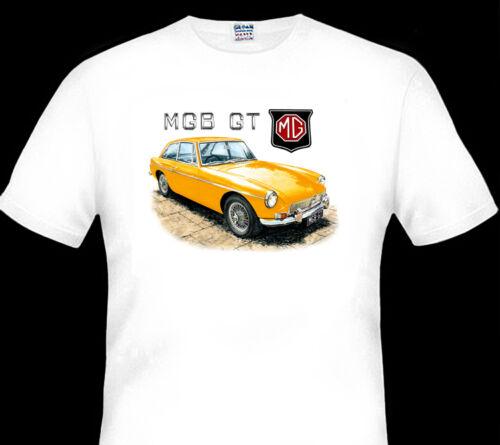 BIG FIT MG  MGB GT ROADSTER 1800cc  QUALITY WHITE TSHIRT 9 CAR COLOURS