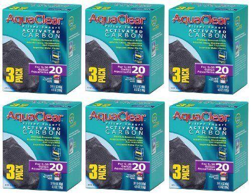 3 Aqua Clear Activated Carbon Filter Insert for 20-Gallon Aquariums 6 Pack