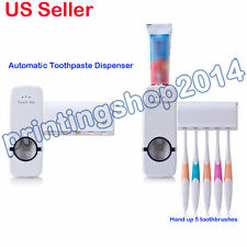 Automatic Toothpaste Dispenser Wall Mount Stand + 5 Toothbrush Holder Set(White)