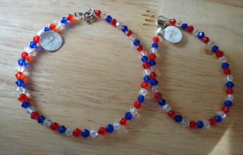 "TWO 7"" & 9"" Sterling Silver Red White Blue Crystal Patriotic July 4th Bracelet"