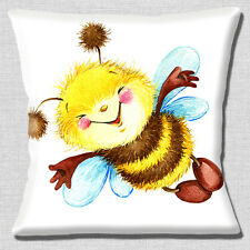 "NEW Bumble Bee Smiling Cartoon Character on White 16"" Pillow Cushion Cover"