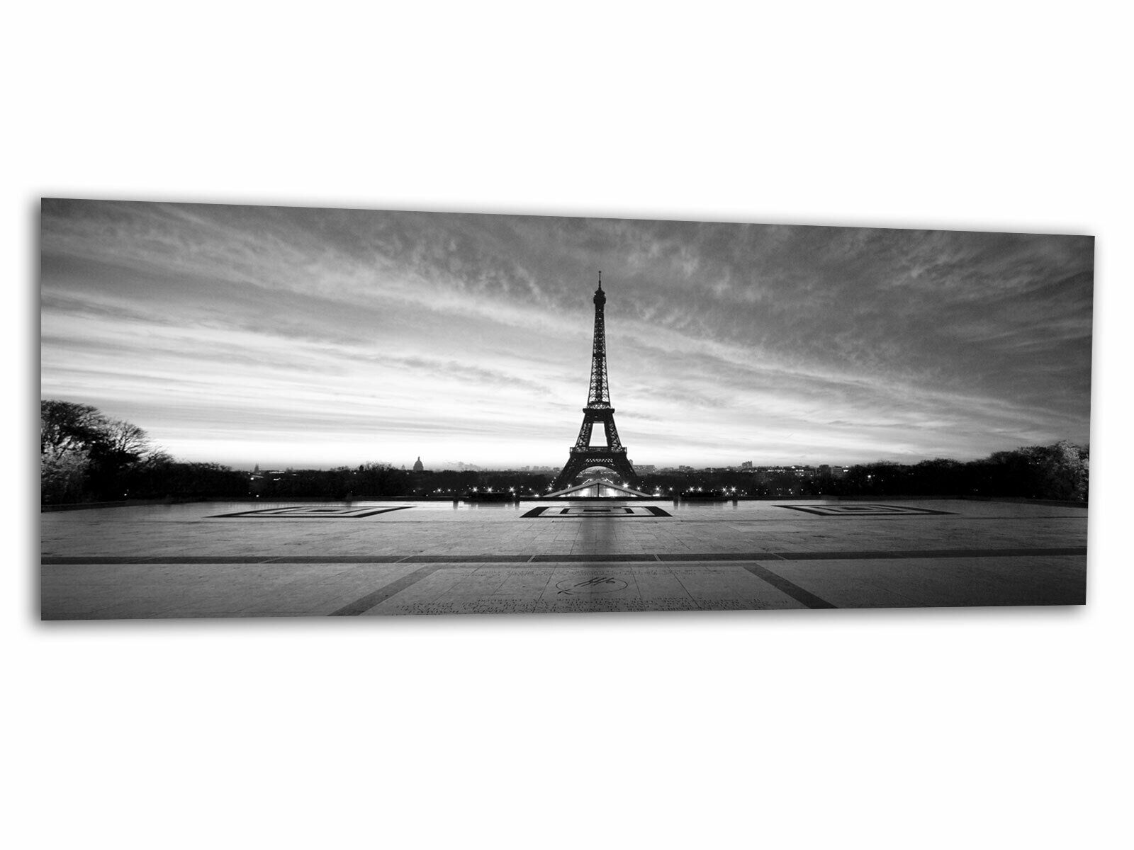 Glas-Bild Wandbild PARIS EIFELTURM S W AG-00430 125 x 50cm