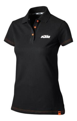 Femme KTM Racing Polo Shirt Top Noir Nouveau RRP £ 57.78!!!