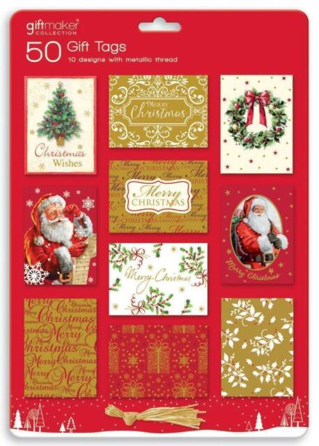 50 TRADITIONAL CHRISTMAS GIFT TAGS TIE ON LABELS METALLIC THREAD SANTA XMAS WRAP