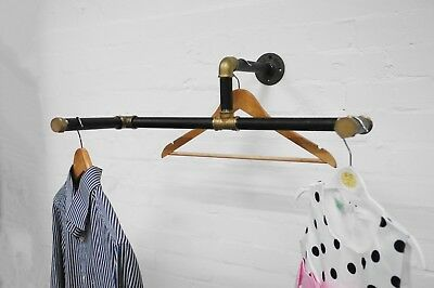 Unique Vintage Contrasting Clothes Rail Made From Black /& Brass Pipe Fittings