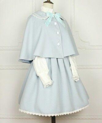 Cosplay Sweet Love Lolita Kawaii Cape and cute Skirt one set (mint light blue)