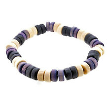 Men's Purple, Black & Cream Casual Wooden Surfer Bead Bracelet by Urban Male