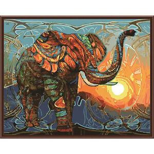 Peinture-par-Numeros-DIY-Peinture-Acrylique-Image-Art-Safari-Elephant