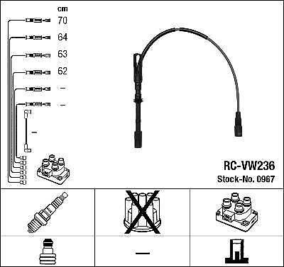 Allumage HT Lead Set NGK RC-VW236 0967