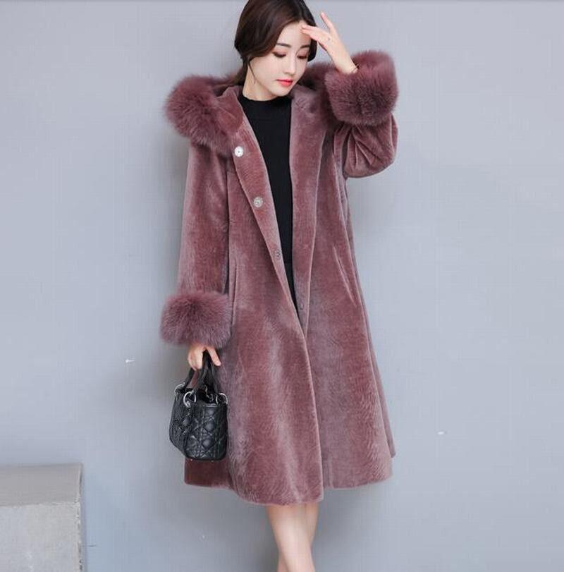 lyx kvinnor Sheep Shearinga Full längd huvor Overloat Winter utklädnad Ny