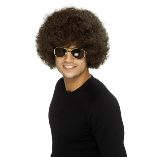 Unisex Brown Disco Funky Afro Wig Adult Stag Hen Fancy Dress Costume 70/'s Fun