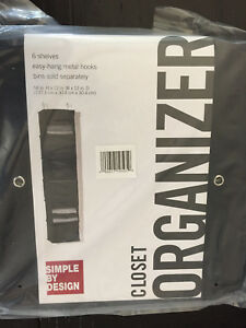 Simple-By-Design-6-Shelf-Organizer-Home-Storage-Closet-easy-hang-Black