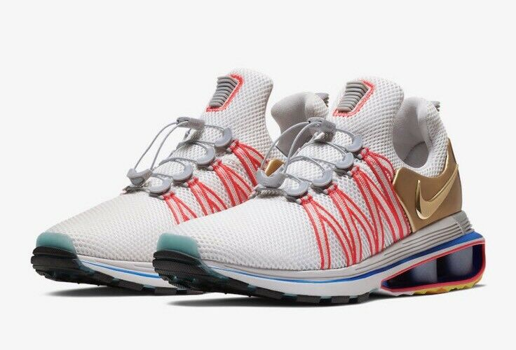 New shoes for men and women, limited time discount New Nike Shox Gravity Metallic Gold Vast Grey Blue Red AQ8553-009 Sz 11