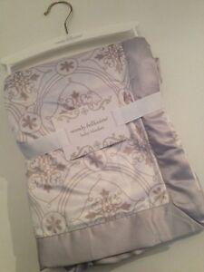 Wendy Bellissimo Baby Boy Girl Blanket White Gray Damask