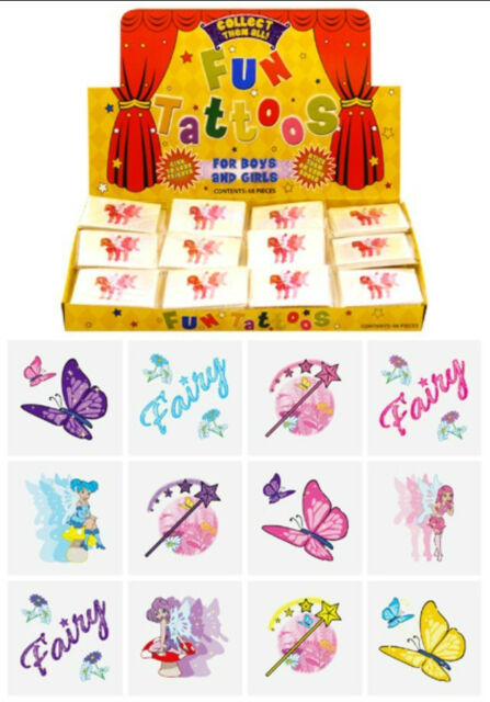 12 Fairy Temporary Tattoos Boys Girls Kids Party Bag & Stocking All Occasions