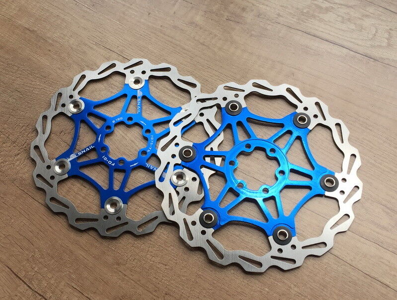 2 pces SNAIL MTB Mountain bike Brake Disc Floating redor 160 180 203mm blueeeeeeeee
