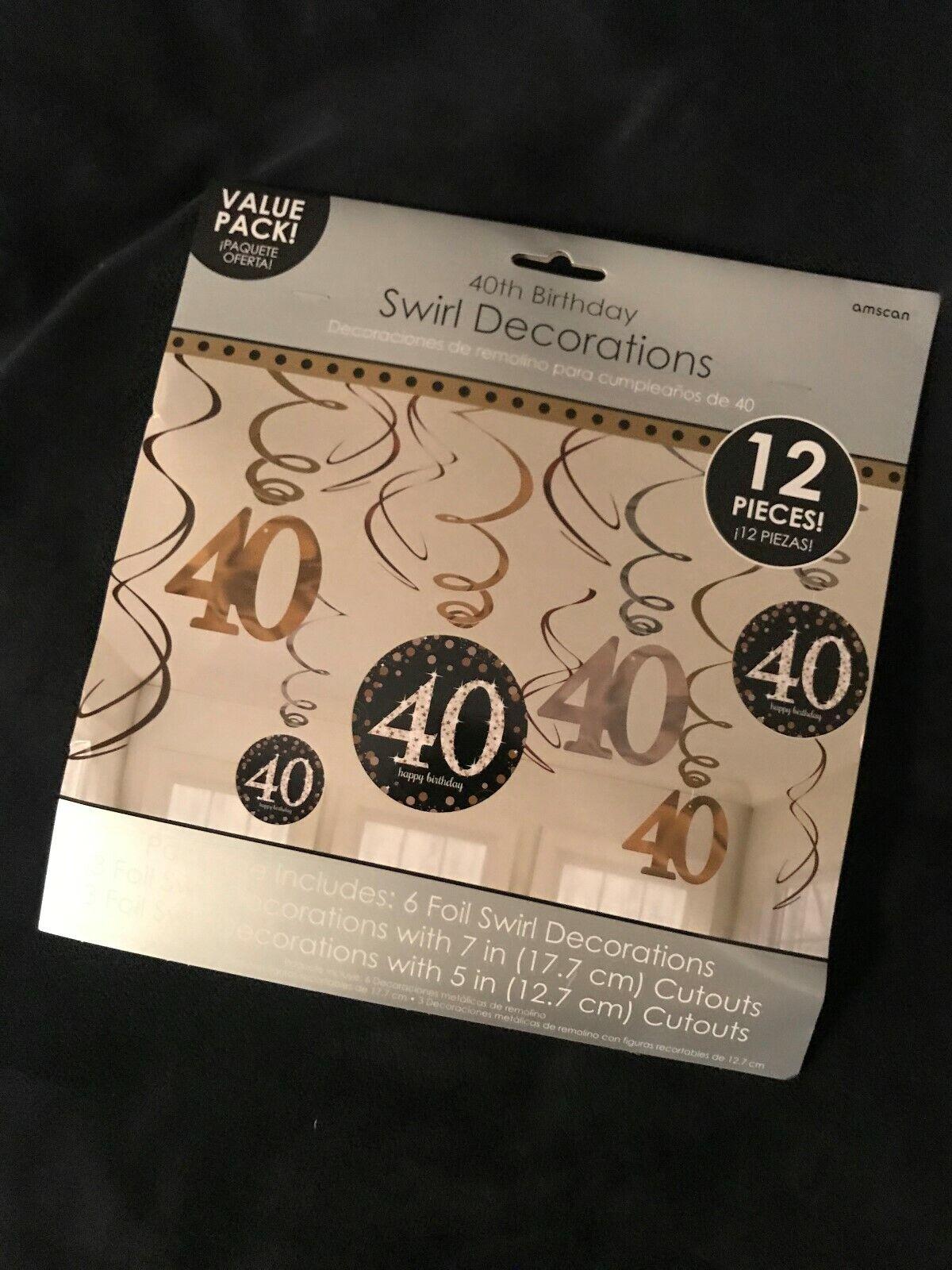 40 Geburtstag Party 12 tlg Swirl Girlanden schwarz Gold Raum Deko Jubiläum 0481