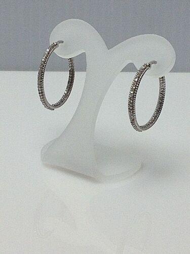 1//2CT GENUINE DIAMOND 925 STERLING SILVER WOMENS DESIGNER HOOP EARRINGS NEW $200