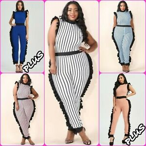71eb5e00dbfc Plus Size Sexy Striped Textured Ruffle Side Jumpsuit Bodycon Catsuit ...