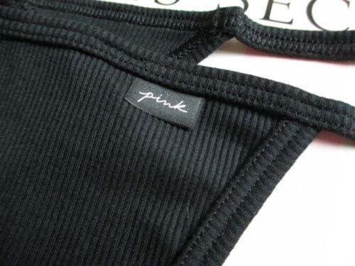 VICTORIA SECRET PINK Black V-String Thong Panty S M L XL Ribbed Cotton G String