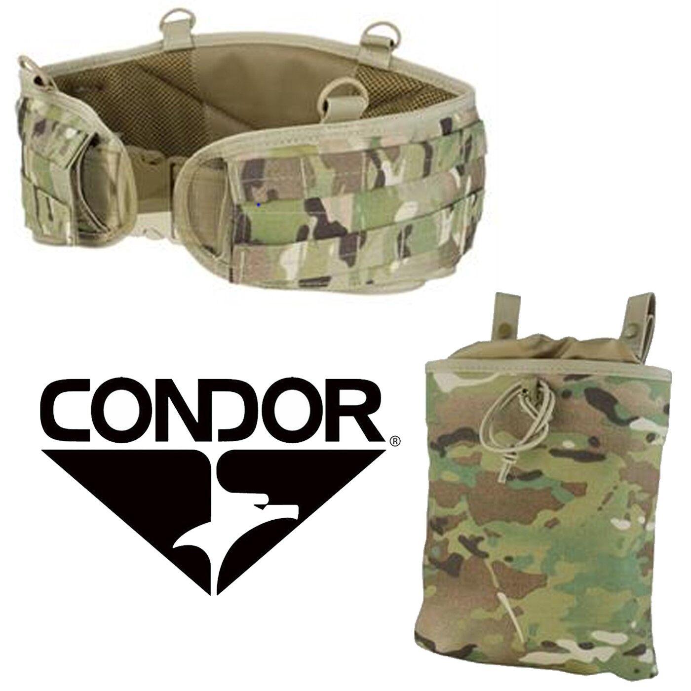 Condor MOLLE PALS Tactical Modular Battle Belt w  Magazine Dump Pouch Multicam