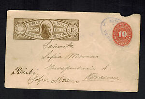 1895-Hidalgo-Mexico-Express-Mail-Cover-Veracruz-Local-Use