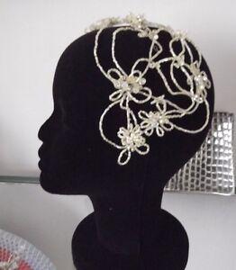 BEADED-CRYSTAL-BRIDAL-HEADPIECE-CAP-WHITE-or-CREAM-Designer-Couture-NEW-Aust