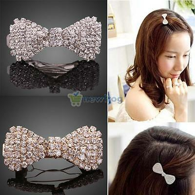 Fashion Bling Crystal Rhinestone Bowknot Hairpin Barrette Hair Clip Headwear