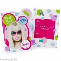 Barbie All Doll'd Up Thank You Notes (8) Birthday Party Supplies Stationary