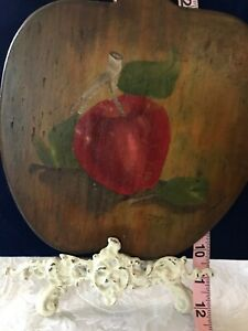 Painted Red Apples Cabin Vintage Wood Bowl 520-13 Decorative Kitchen Decor Set of Two Rustic Farmhouse