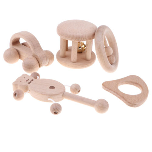 5 Piece Wooden Baby Rattle Teether Montessori Sensory Developmental Crib Toy