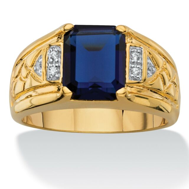 MENS BLUE SAPPHIRE 14K GOLD DIAMOND ACCENT CLASSIC GP RING SIZE 8 9 10 11 12 13