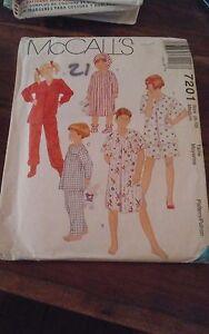 Oop-Mccalls-7201-childs-sleepwear-nightshirt-pjs-sz-8-10-NEW