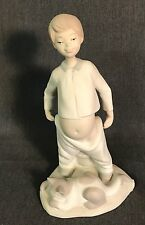 LLADRO Figurine Boy Pulling Up Pants After Toilet With Sleeping Cat At Feet
