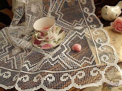 """49x27"""" Antique French Scroll-Vtg HAND Filet Lace Table Runner Raise Flower White"""