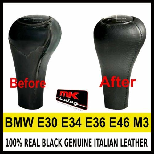 BMW E30 E34 E36 E46 M3 Z3 GENUINE BLACK LEATHER PERFORATED GEAR KNOB