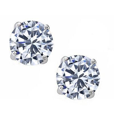 14k White Gold 925 Silver White Sapphire Round Stud w/ Screw Back Earrings
