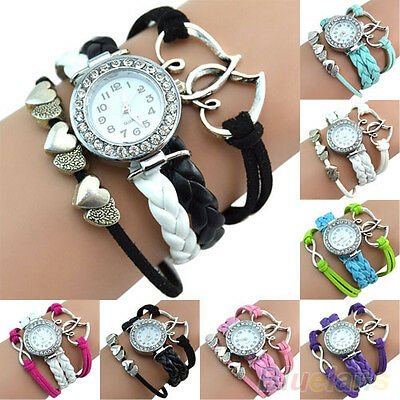 Damen Lederband Uhr Multilayer Armband Armbanduhr Strass Watch