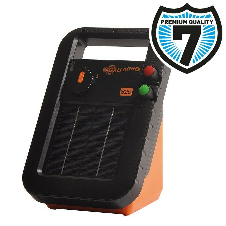 SOLAR S20 ELECTRIC FENCE ENERGISER - Gallagher Panel Fencing Battery Included