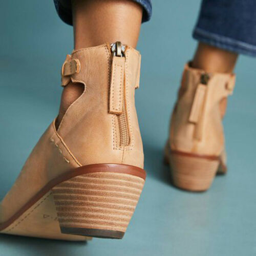 Womens Pointed Toe Ankle Strap Boots Chic Hollow Block Mid Heel Shoes Pumps Size
