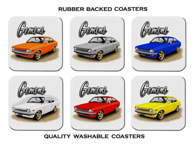 HOLDEN  TD  GEMINI  COUPE    SET OF 6 RUBBER DRINK  COASTERS