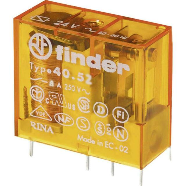 Miniature Electromagnetic Relay 12VAC 8A 250VAC DPDT PCB Socket AgNi FINDER RoHS